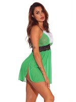 Must-Have Green Spaghetti Strap Side Slit Babydoll For Romans