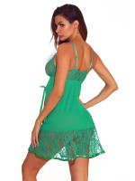 Dramatic Green Open Back Babydoll Lace Mid-Thigh Breath
