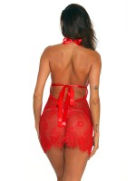Dreamy Red U-Neck Hollow Out Backless Babydoll Super Sexy