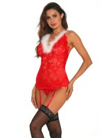 Risque Red Cross Back Babydoll With Straps For Boudoir