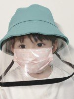 Breathable Blue Anti Saliva Fisherman Hat Child Protective