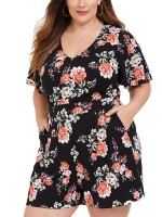 Refreshing Plus Size Jumpsuit Floral Printed Swimwear