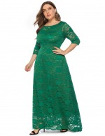 Snazzy Green Queen Size Dress Round Neck Floor-Length Casual Women
