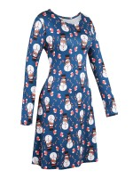 Sexy Ladies Plus Size Snowmen Printed Mini Dress Ladies Elegance