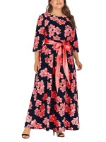Conservative Red Tie Waist Large Size Maxi Dress For Sexy Women