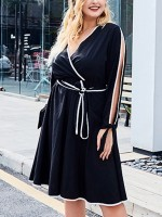 Premium Quality Black Big Size Dress Tie Cut Out Deep-V For Vacation