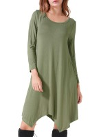 Simply Chic Army Green Midi Dress Full Sleeves Large Size Party Time