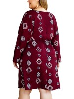 Quirky Wine Red Plus Size Midi Dress Printed Waist Tie
