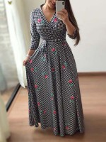Particularly 3/4 Sleeves Maxi Dress Large Size High Elasticity