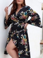 Incredible Black V-Neck Flower Paint Large Size Dress Unique Fashion