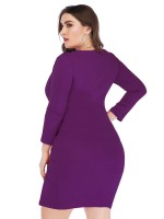 Dark Purple Deep-V Neck Bodycon Dress Plus Size Wholesale Online