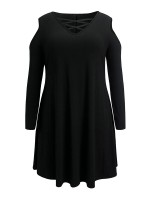 Charming Black Cold Shoulder Plus Size Dress Lace-Up For Party