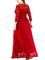 Sweety Red Flower Pattern Lace Large Size Dress Fashion Top