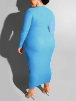 Ultra Hot Blue Full Sleeve Contrast Color Maxi Dress Autumn Time