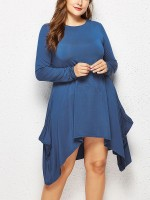 Fitness Blue Ruffle Pockets Midi Dress Large Size Pullover