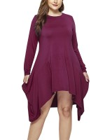 Dreamlike Wine Red Plus Size Midi Dress Long-Sleeved
