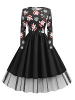 Cool Black Swing Hem Skater Dress Xmas Plus Size Ladies