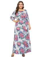Exotic Paradise White 3/4 Sleeves Maxi Dress Tie Plus Size Women
