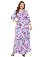 Unvarnished Purple Elastic Waist Large Size Maxi Dress Regular Fit