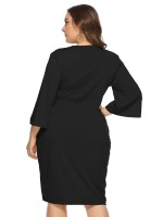 Abstract Black Tie Large Size Midi Dress Round Neck High Elasticity
