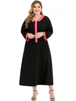 Chic Black Contrast Color Maxi Dress Plus Size Women's Apparel