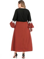 Irregular Red Queen Size Dress Lace Trim Patchwork Female Elegance
