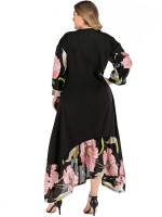 Attactive Black Plus Size Dress Floral Paint Irregular Hem Vacation