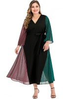 Exotic Black Patchwork Plus Size Dress Tie Waist Fashion For Women