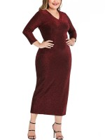 Virtuoso Wine Red 3/4 Sleeve V-Neck Slit Plus Size Dress Newest Fashion