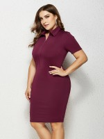 Causal Wine Red Turndown Collar Plus Size Dress Zipper Quality Assured