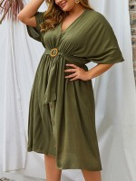 Absorbing Army Green V-Neck Plus Size Dress Pleated Breathable