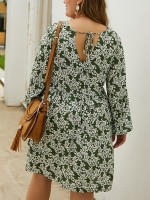 Loose Fitting Army Green Floral Print Midi Dress Big Size Soft