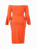 Unforgettable Orange Large Size Dress One Shoulder Bell Sleeve Female Grace