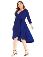 Extra Sexy Royal Blue Tie Waist Large Size V Neck Dress