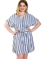 Summer Glow Blue V-Neck Stripe Large Size Dress Button Womens