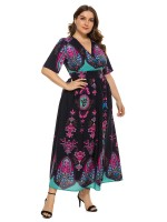 Multicolored Purplish Blue Short Sleeve Cross V-Neck Maxi Dress