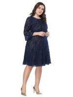 Incredible Dark Blue Flared Sleeve Midi Length Big Size Dress Natural Women