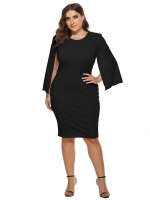 Ravishing Black Cape Sleeve Round Neck Plus Size Dress Stretchy