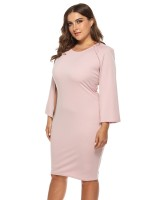 Exceptional Pink Solid Color Big Size Dress Cape Sleeve For Women