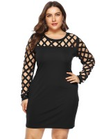 Seductive Black Hollow Out Queen Size Bodycon Dress Fashion Essential