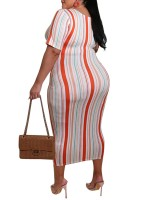 Funny Orange Plus Size Stripe Dress Short Sleeves Splendid Look