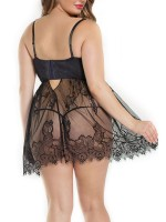 Elaborate Black Eyelash Lace Plus Size Babydoll Mesh Allover Comfortable