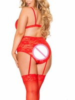 Adoring Red Lace Large Size Bralette Set Lace-Up Attractive Wear