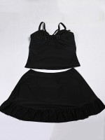 Ingenious Black Solid Color Two Pieces Swimwear Sling Online Wholesale