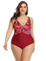 Red Queen Size Swimsuit Hollow Out Backless For Sunshine Beach