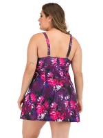Simplicity Flower Paint Queen Size Tankini Ultra Hot