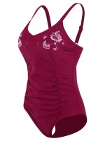 Wine Red Floral Print Embroidery V-Neck Beachwear Beach Party Time