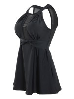 Cool Black Sheer Mesh Beach Dress Round Collar Women Swimwear
