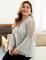Pretty Gray Long Sleeve Sweater Button Front Lace Summer Honeymoon
