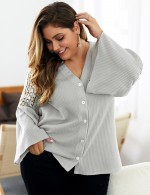 Pretty Gray Long Sleeve Sweater Button Front Lace Womens Clothes